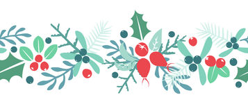 Vintage Merry Christmas And Happy New Year background. Berries, sprigs and leaves stylish vector repeating white winter illustration. Good for cards, posters stock illustration