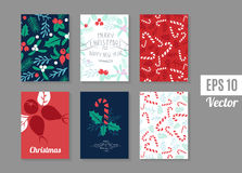 Vintage Merry Christmas And Happy New Year background set. Stock Photos