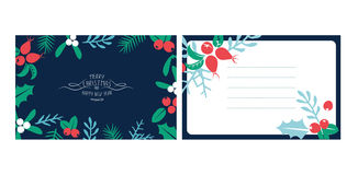 Vintage Merry Christmas And Happy New Year background set. Stock Images