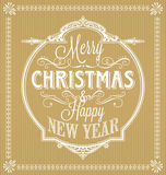Vintage Merry Christmas And Happy New Year Calligraphic and Ornament Frame Stock Image