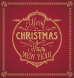Vintage Merry Christmas And Happy New Year Calligraphic and Ornament Frame on Red Background Stock Images