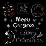 Vintage Merry Christmas And Happy New Year. Calligraphic And Typographic on black background Stock Photo