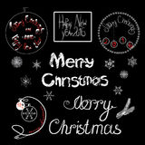 Vintage Merry Christmas And Happy New Year. Calligraphic And Typographic on black background Stock Images