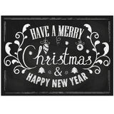 Vintage Merry Christmas And Happy New Year Card. On Blackboard Background With Chalk Word and Floral Elements Stock Photography
