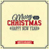 Vintage Merry Christmas and Happy New Year card. Royalty Free Stock Photo