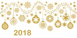 Vintage Merry Christmas and Happy New Year card. Template for banners, tickets and invitations. Snowflakes, stars and festive decorations Royalty Free Stock Images