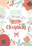 Vintage Merry Christmas And Happy New Year Card. With Winter Flowers and Holidays Wish. Greeting stylish illustration of winter romantic border of  flowers Royalty Free Stock Image