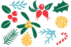 Vintage Merry Christmas And Happy New Year decorations. Berries, sprigs and leaves stylish vector illustration on winter background. Good for cards, posters Royalty Free Stock Images