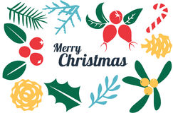 Vintage Merry Christmas And Happy New Year decorations. Berries, sprigs and leaves stylish vector illustration on winter background. Good for cards, posters Royalty Free Stock Photography
