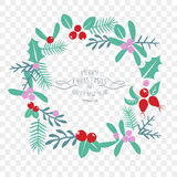 Vintage Merry Christmas And Happy New Year decorations. Berries, sprigs and leaves stylish vector illustration on winter background. Good for cards, posters Royalty Free Stock Photo