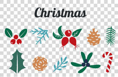 Vintage Merry Christmas And Happy New Year decorations. Berries, sprigs and leaves stylish vector illustration on winter background. Good for cards, posters Royalty Free Stock Photos