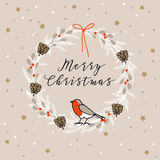 Vintage Merry Christmas , Happy New Year greeting card, invitation. Wreath made of evergreen branches, berries, finch bird. Royalty Free Stock Image