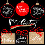 Vintage Merry Christmas And Happy New Year Handdrawn Calligraphic And Typographic labels set. Decorations elements. Symbols, Icons, Frames, Ornaments and stock illustration