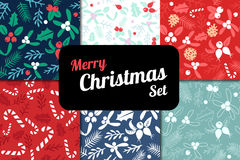 Vintage Merry Christmas And Happy New Year seamless pattern background set. Royalty Free Stock Image