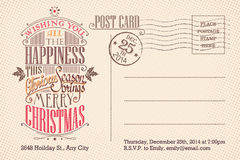 Vintage merry Christmas holiday postcard Royalty Free Stock Photography