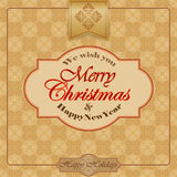 Vintage Merry Christmas and New Year abstract background. We wish you Merry Christmas text and arabesques background Royalty Free Stock Images