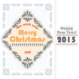 Vintage Merry Christmas and New Year abstract background. We wish you Merry Christmas text and arabesques frame border. For elegant calendar page cover, luxury Stock Photography