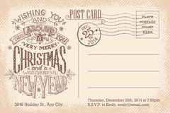 Vintage merry Christmas and New Year holiday postcard Royalty Free Stock Photo
