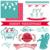 Vintage Merry Christmas and New Year Stock Images