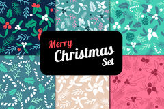 Vintage Merry Christmas seamless pattern background set. Stock Image