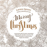 Vintage Merry Christmas sepia background. Round frame of holly berries, pine branches and cones. Hand-written lettering Royalty Free Stock Photos