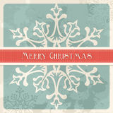 Vintage Merry Christmas snowflake postcard. Happy christmas retro greeting card illustration. EPS 8 vector, cleanly built with no open shapes or strokes. Grouped Stock Photography