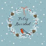Vintage Merry Christmas , Spanish Feliz Navidad greeting card, invitation. Wreath made of evergreen branches, berries. Vector Stock Photo