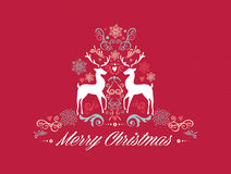 Vintage Merry Christmas text with reindeers design Stock Image