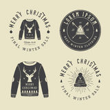 Vintage Merry Christmas or winter clothing shop logo, emblem Royalty Free Stock Photos