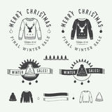 Vintage Merry Christmas or winter sales logo, emblem, badge. Label and watermark in retro style with sweaters, hats, scarfs, trees, stars, decor, deers and Royalty Free Stock Photos