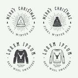 Vintage Merry Christmas or winter sales logo, emblem, badge. Label and watermark in retro style with sweaters, hats, scarfs, trees, stars, decor, deers and Royalty Free Stock Photography