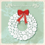 Vintage Merry Christmas wreath buttons postcard Stock Image