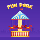Vintage merry-go-round carousel icon, fair symbol. Amusement park theme. Cartoon illustration. Set of attractions. Funfair. Good emotions stock illustration