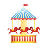 Vintage merry-go-round carousel icon, fair symbol. Amusement park theme. Cartoon illustration. Set of attractions. Funfair. Good emotions royalty free illustration