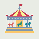 Vintage merry-go-round. Carousel vector Stock Images