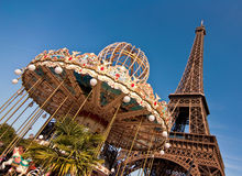 Vintage merry-go-round and the Eiffel tower Royalty Free Stock Images