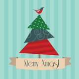 Vintage Merry Xmas postcard Royalty Free Stock Image