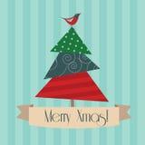 Vintage Merry Xmas postcard. With christmas tree Royalty Free Stock Image
