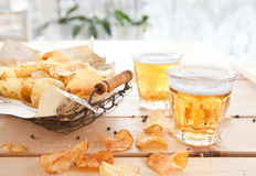 Vintage mesh basket with chips Royalty Free Stock Image