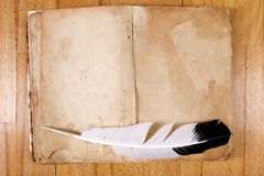 Vintage Message Book with feather pen Royalty Free Stock Photography