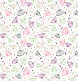 Vintage messy endless pattern. Seamless decorative texture with flowers. Background with fluff.  Stock Images