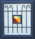 Vintage metal art ornamentation window. filtered image Royalty Free Stock Photos
