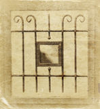 Vintage metal art ornamentation window. sepia filtered image Stock Photos