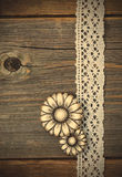 Vintage metal buttons flowers and lace ribbons Royalty Free Stock Photo