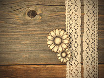 Vintage metal buttons flowers and lace ribbons Royalty Free Stock Photos