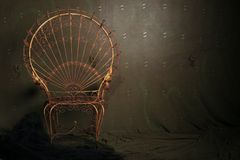 Vintage metal chair. With dramatic lighting stock images