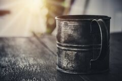Free Vintage Metal Coffee Cup Of The Military On The Old Dark Wooden Table Royalty Free Stock Image - 188725396
