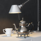 Vintage Metal Coffee Pot With Cup And Lamp On The Coffee Table Royalty Free Stock Photos