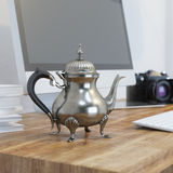 Vintage Metal Coffee Pot On Wooden Table At Working Place Royalty Free Stock Photo