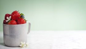Vintage metal cup with berry Royalty Free Stock Photography